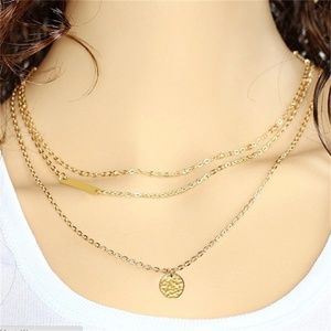 Jewelry - Gold Triple Layer Coin & Bar necklace